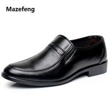 Mazefeng 2018 novo vestido masculino sapatos fashional homens negócios respirável couro de vaca praça dedo do pé redondo sapatos casuais