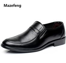 Mazefeng zapatos de vestir a la moda para hombre, calzado de negocios, transpirable de cuero de vaca, punta redonda cuadrada, informales, 2018