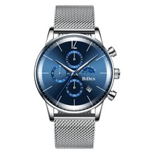 นาฬิกาแฟชั่นผู้ชาย Blue Silver Chronograph ปฏิทิน Casual Business Quartz นาฬิกาผู้ชายกันน้ำสายสแตนเลสตาข่าย