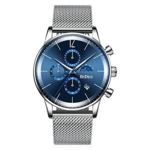Image 1 - Moda męska Sport zegarek niebieski srebrny chronograf kalendarz Casual Business zegarek kwarcowy mężczyźni wodoodporna stal nierdzewna siateczkowy pasek