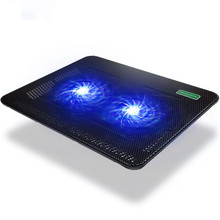 USB Laptop Cooling Pad Notebook Stand for 14 15.6 17 inch Laptops 2 Fans with Blue Light Super Cool Game Notebook Cooler