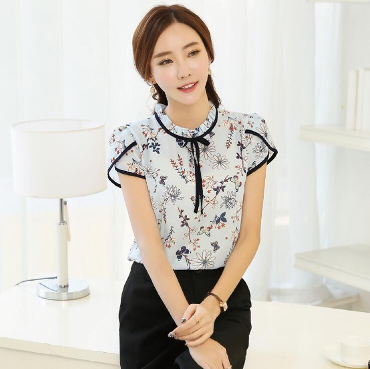 HTB19xDdQXXXXXXoaFXXq6xXFXXX9 - Floral Print Chiffon Blouse Collar Short Sleeve Women