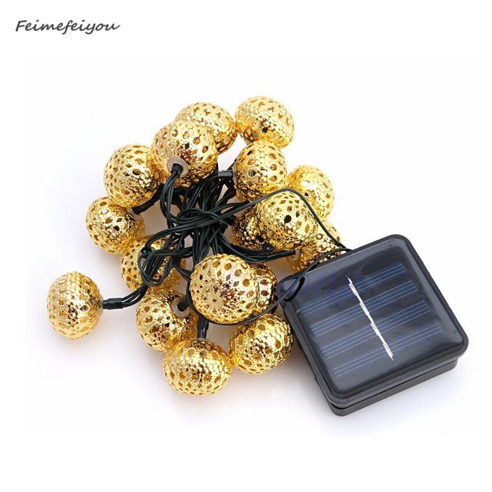 Solar Globe String Lights Moroccan Ball String Lights Warm White 20 LED Fairy Christmas Festival Wedding Party Decoration