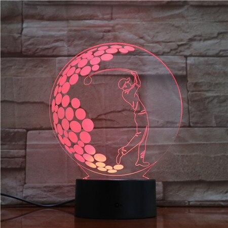 Спальня Декор Led Night Light Sport Play Golf 3d Иллюзия Светодиодная Настольная Лампа Сенсорный