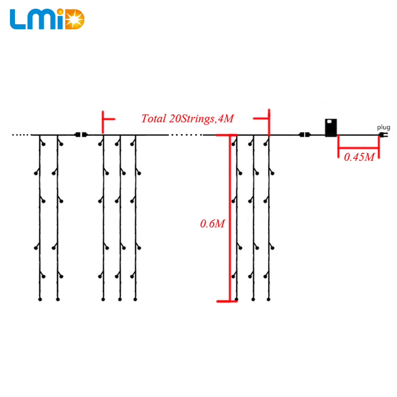 LMID 4M * 0.6M 120beds Fairy String Icicle Led Curtain Light Ашық - Мерекелік жарықтандыру - фото 3