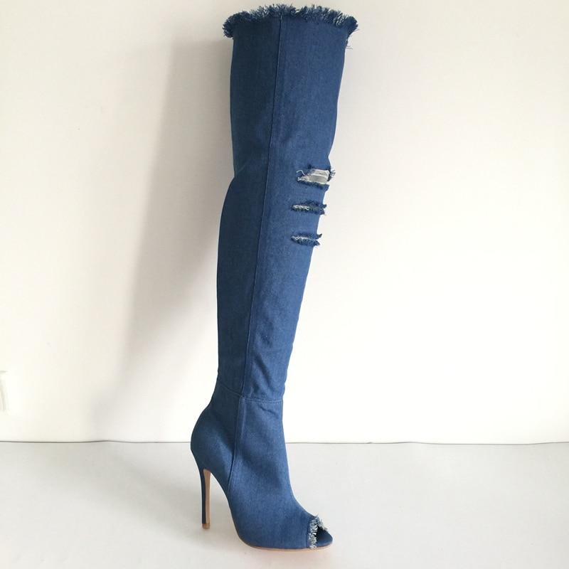 Blue Denim il Alti Nero Toe Peep deep Pale Stivali Da Cut sky med Lungo Scarpe Trimed Donna Sexy blue Blue Blue Il Ginocchio Stiletto Sopra Blue Coscia Jeans outs pqrpwa1