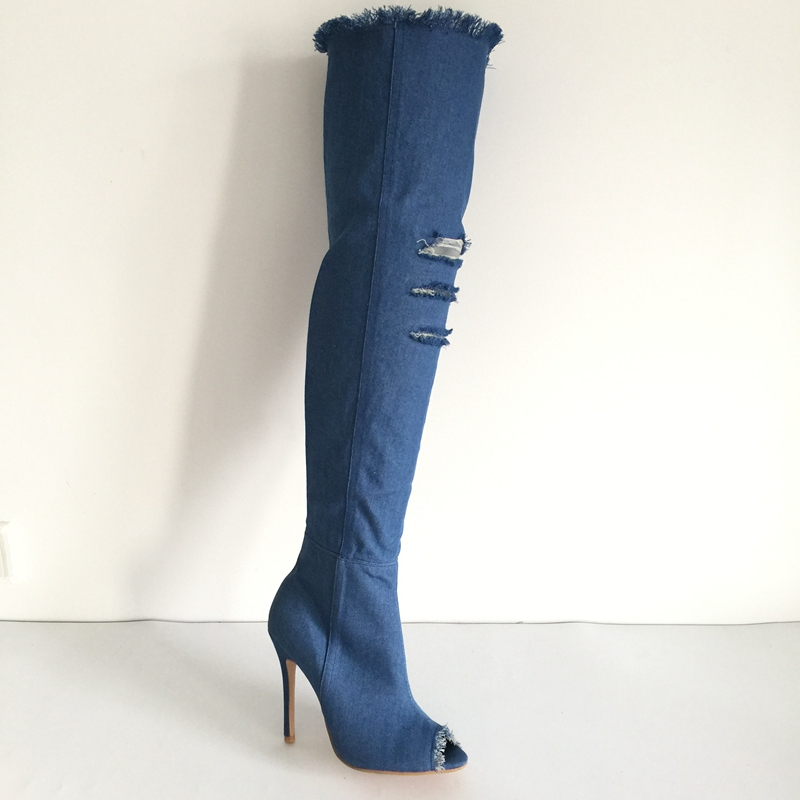 Denim Women Boots Over The Knee Boots Peep Toe Trimed Cut-outs Long Sexy Boots Blue Jeans Stiletto Thigh High Boots Shoes Women 2017 denim over the knee boots shoes woman thigh high boots sexy ripped distressed denim jeans boots open peep toe women heels