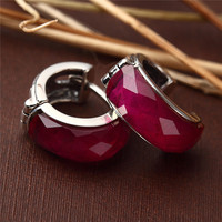 Baolong authentic 925 Sterling Silver Buckle fashion retro red corundum Silver Earrings trendsetter new special lady