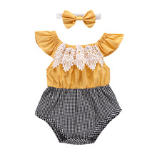 gxmjxdgmlndcp Newborn Baby Plaid Lace Princess Flutter