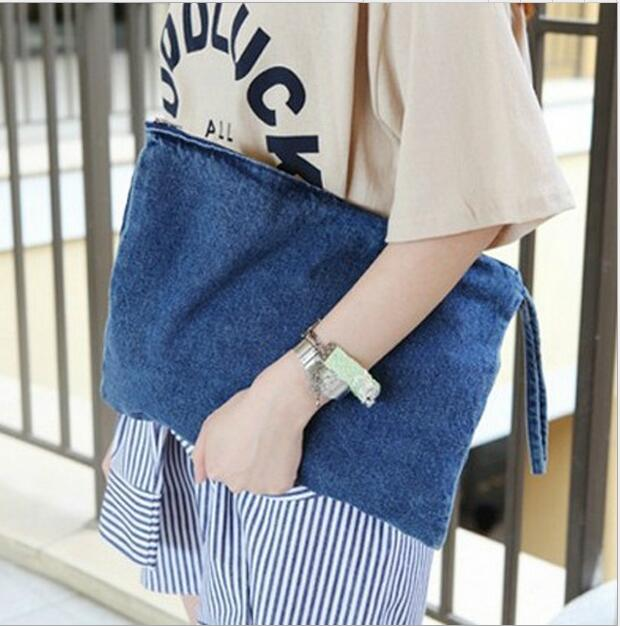 2020 New Casual Canvas Denim Jeans Women's Envelope Zipper Handbags High Quality Men's Travel Bags Woman Clutch Bag 100pcs