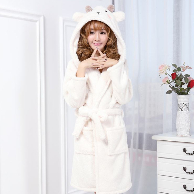 A28New winter women  s robe sleepwear Flannel fabric cartoon animal thick  hooded Siamese nightgown home service Indoor clothing 90dc8c23e