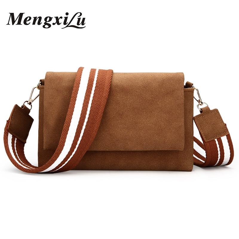 MENGXILU Brand 2018 Soft Crossbody Bags For Women PU Leather Handbags Designer Women Shoulder Bags High Quality Solid Women Bag