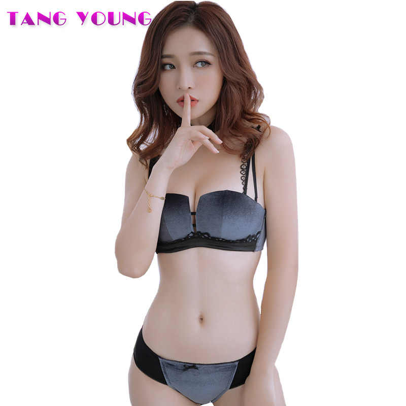 9f37a573fe286 2019 Autumn Women Velvet Bra Set Underwear Wireless Soft Trim Lingerie Set  Sexy Square Cup Push