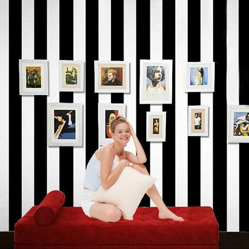 Black White Vertical Striped Non-woven Wallpaper Modern Bedroom Living Room Sofa TV Background Decor Wall Paper Papel Tapiz 3D