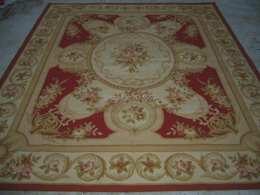 Free Shipping 6'X9' French Aubusson rug hand knotted 100% New Zealand - Home Textile