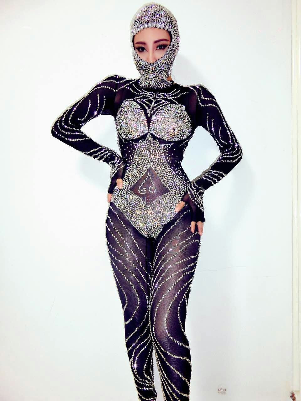 Sexy Rompers For font b Women b font Black Rhinestones Beads Jumpsuit Outfit Shining Sexy Headdress