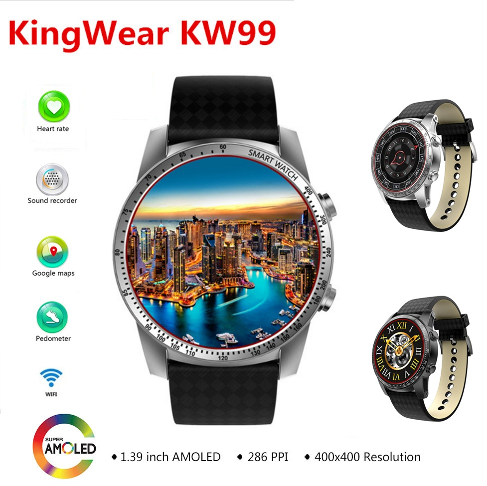 Kingwear KW99 3G Smartwatch Phone Android 1.39'' MTK6580 Quad Core Heart Rate Monitor Pedometer GPS Smart Watch For Mens pk KW88 цена