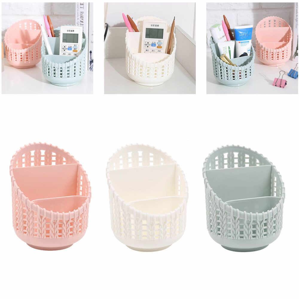 New Office Organizer Desktop Pen Storage Box Pencil Brush Pot Pen Holder Makeup Brush Plastic Container Home Desk Organizer