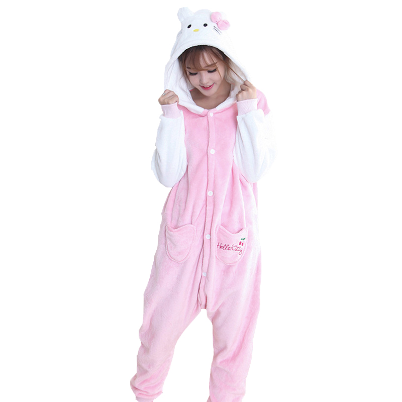 KT Cat Cute Cartoon Winter Onesies Flannel Sleep Bodysuit Christmas Cosplay