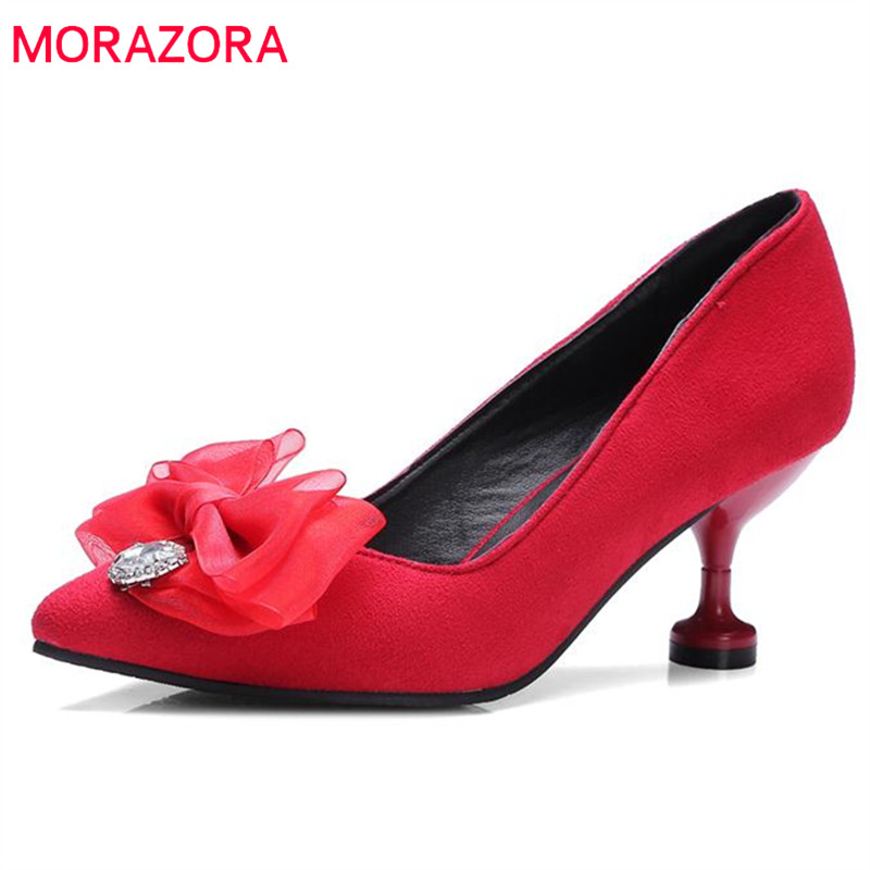 MORAZORA Pointed toe women pumps big size 34-43 flock high heels shoes shallow fashion elegant four seasons single shoes party meotina high heels shoes women pumps party shoes fashion thick high heels pointed toe flock ladies shoes gray plus size 10 40 43