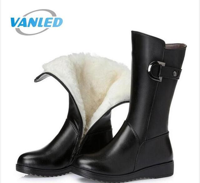 Большой размер коровьей шерсти зимняя женская обувь зимние сапоги 2017 зимние-трубы модные ботинки Женские ботинки Кожаные ботинки на плоской подошве из натуральной кожи