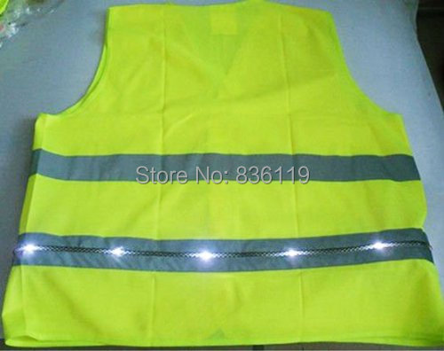 Flashing LED font b Safety b font Vest Reflective Workers Vest with White LED and 2