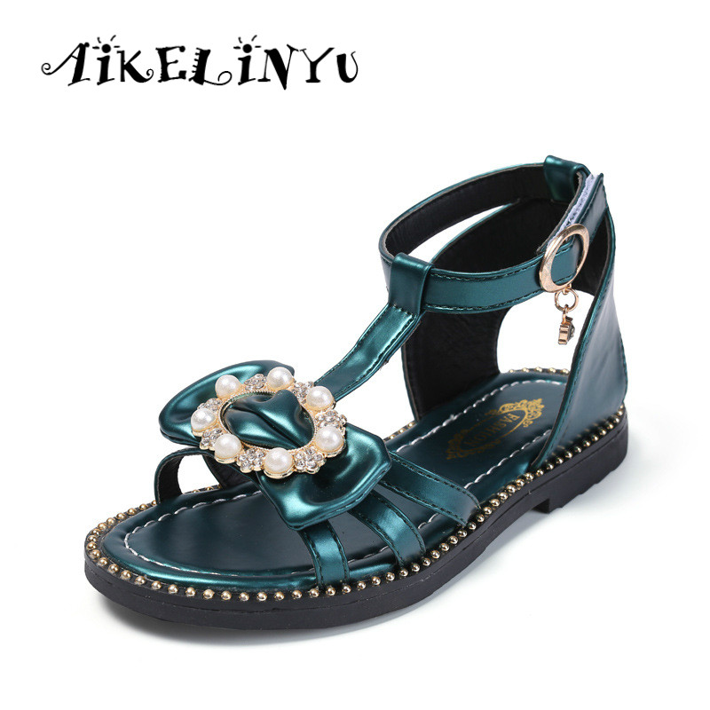 Girls Sandals 2019 Summer Fashion Children Sandals Bow Young Girl Shoes Kids  Flat Princess Shoes Teenag Girls Pink Green Sandals-in Sandals from Mother  ... bb41317e41c7