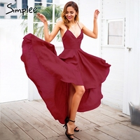 Simplee Sexy Strap Backless Summer Dress Women Wine Red Lace Up Maxi Dress Elegant Party Dresses