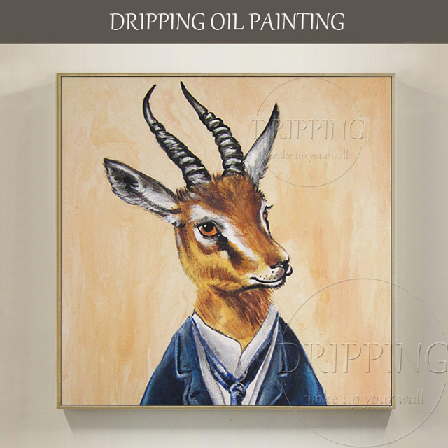 15d42d0af95f0 US $24.99 49% OFF|Hand painted High Quality Gazelle Oil Painting on Canvas  Handmade Gazelle Pictures Animal Gazelle Oil Painting for Wall Decor-in ...
