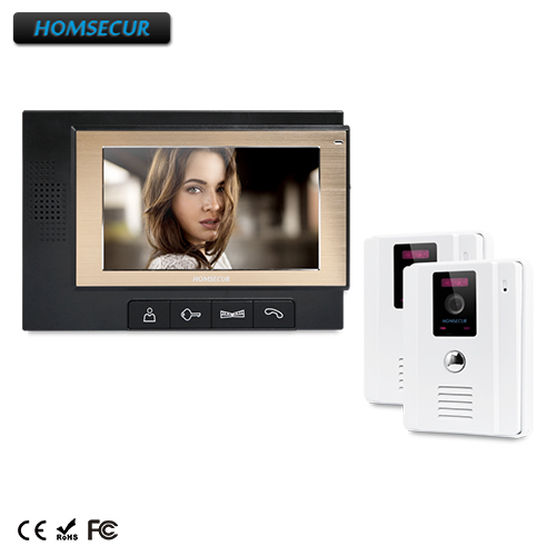 HOMSECUR 7 Wired Hands-free Video Door Phone Intercom System+Outdoor Monitoring : TC011-W + TM702-B homsecur 8 wired hands free video door entry security intercom lcd color screen tc011 w tm801r b