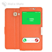 Сделайте Mate для Samsung Galaxy C9 Pro телефона чехол Магнитная двойной окна подставку случаях для C9 Pro из натуральной кожи Флип Чехол