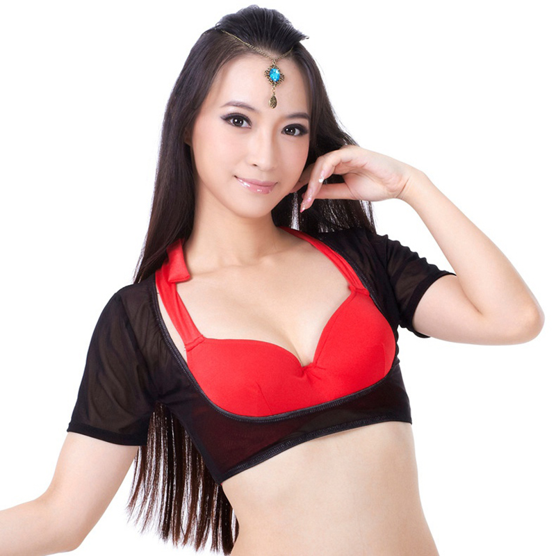 20 Colors Bellydance Dancewear Short Sleeves Chest Support Bottoming Shirt Women Bodysuit For Belly Dance
