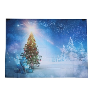 Promo 7x5ft Blue Sky Xmas Photography Backdrop Snow Christmas Tree Glitter Star Snowflake Forest Winter Background Back Drop