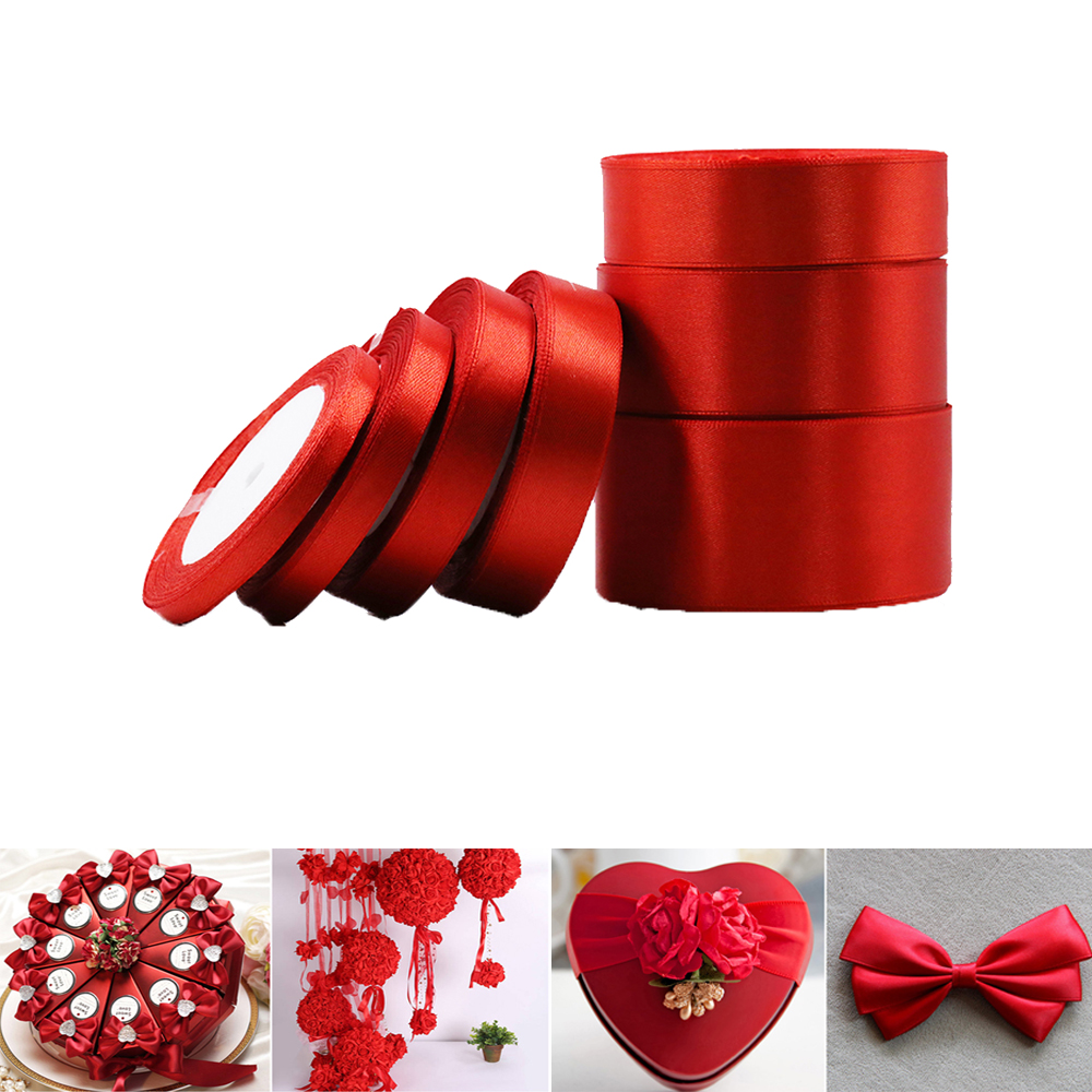 22m Satin Ribbon single 25mm 1 inch wide RED basic color wedding cake christmas