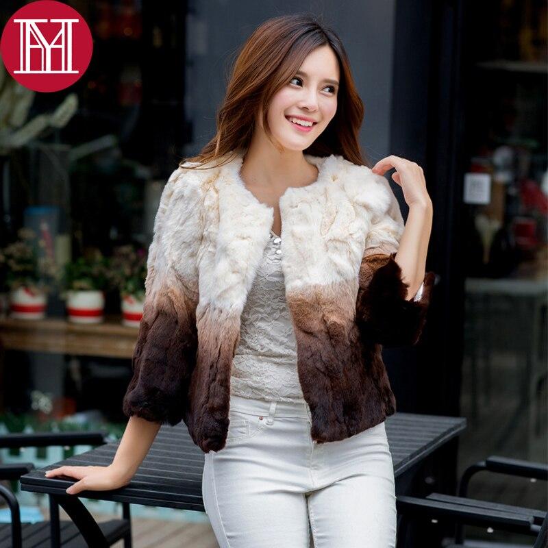 2017 New Style Real Natural Rex Rabbit Fur Coat Women Fashion Fur Slim Gradual Color Jacket