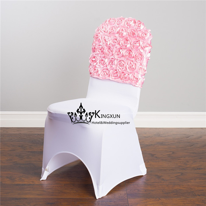 Pink Color Satin Rosette Chair Cap  Chair Hood For Chair Cover