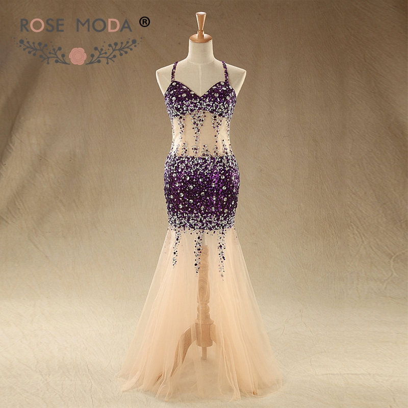 Rose Moda Purple Sequined Mermaid Evening Dresses See Through Skirt Criss Cross Low Back Party Dress 2018