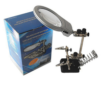 Third Hand Soldering Iron Stand Helping Hand LED Magnifier Desk Handheld Dual Magnifying Glass With Welding
