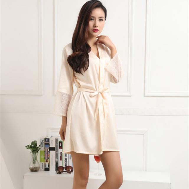 Sexy women nightwear robes plus size M L XL XXL lace real silk