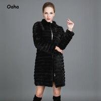 Oaha Wave Cut Striped Real Mink Fur Coats Outerwear Women Thickening Warm Natural Fur Jackets Women Stand Collar Coat 2017 New