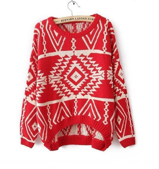 Ethnic Vintage Style New 2015 Cute Christmas Sweaters For Women Geometric Pattern Montage Causal Knitted Pullovers In Stock