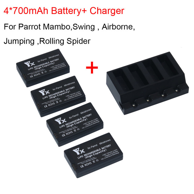 US $28 47 22% OFF|Lipo Battery 4x 700mah Battery For Parrot Mambo Mini  Drones Jumping Rolling Spider + Charger Transmitter Brushless Motor-in  Parts &
