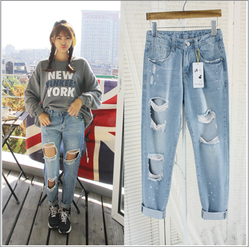1fc867b71e6ce3 New Fashion American apparel blue baggy boyfriend jeans for women with  holes baggy ripped jeans femme plus size 6XL pants-in Jeans from Women's  Clothing on ...