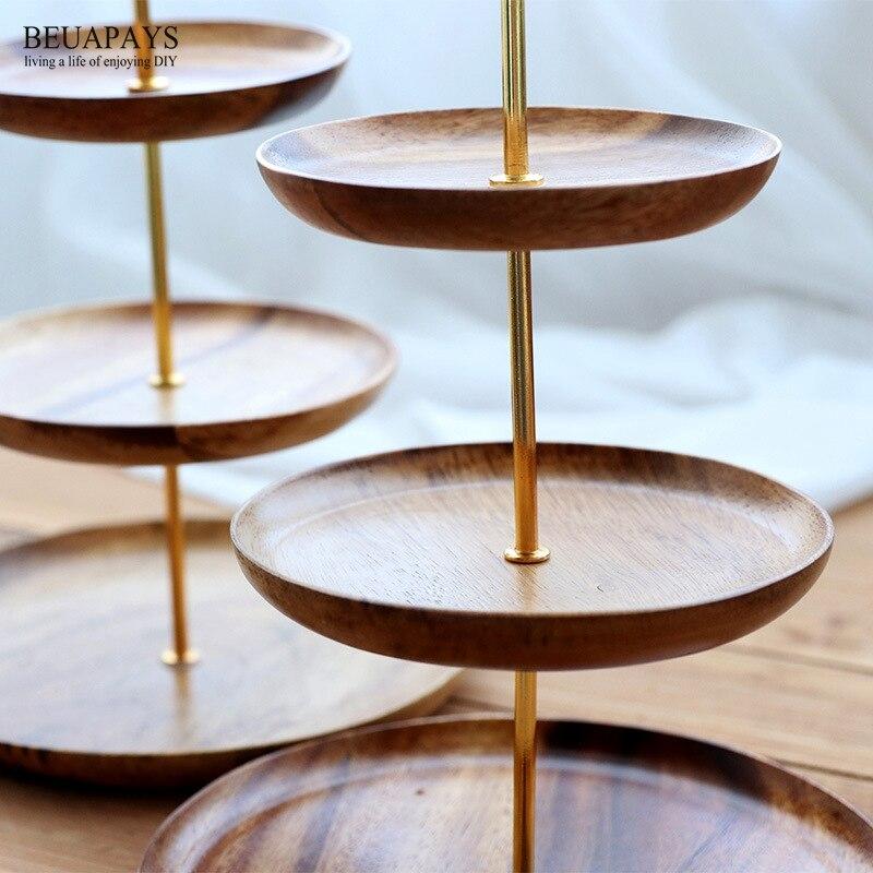 1 pièces bois artisanat Acacia bois fruit plateau européen trois étages dessert plateau multi-étages salon créatif bonbons plateau pour la maison - 6