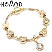 HOMOD 2019 New Fashion Heart Beads Bracelet Delicate Simple Gold Fits Brand European Charm Women Gift