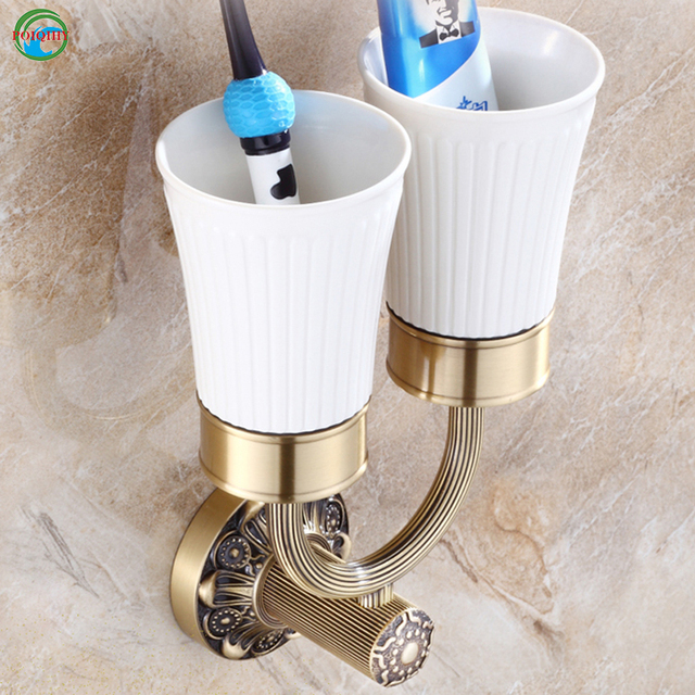 Brushed Brass Toothbrush Holder Ceramic Cup Bathroom Accessories