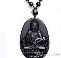 Natural de Obsidiana Colar de Moda Preto Ruyi Guan Yin Pingente Para Mulheres Dos Homens Do Vintage nova Multa Jóias Ornamentos 55*35mm