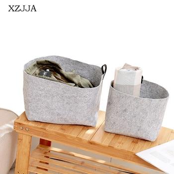 Cesta de almacenaje plegable de tela de fieltro multifunción XZJJA, 1 unidad, cesta de ropa sucia portátil, organizador de juguetes de gran capacidad para cosméticos