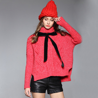 2016 אופנה בגדי חורף נשים עבה צמר מעיל סוודר לסרוג גדולים OM039 וסוודרים גולף פיצול אדום חם