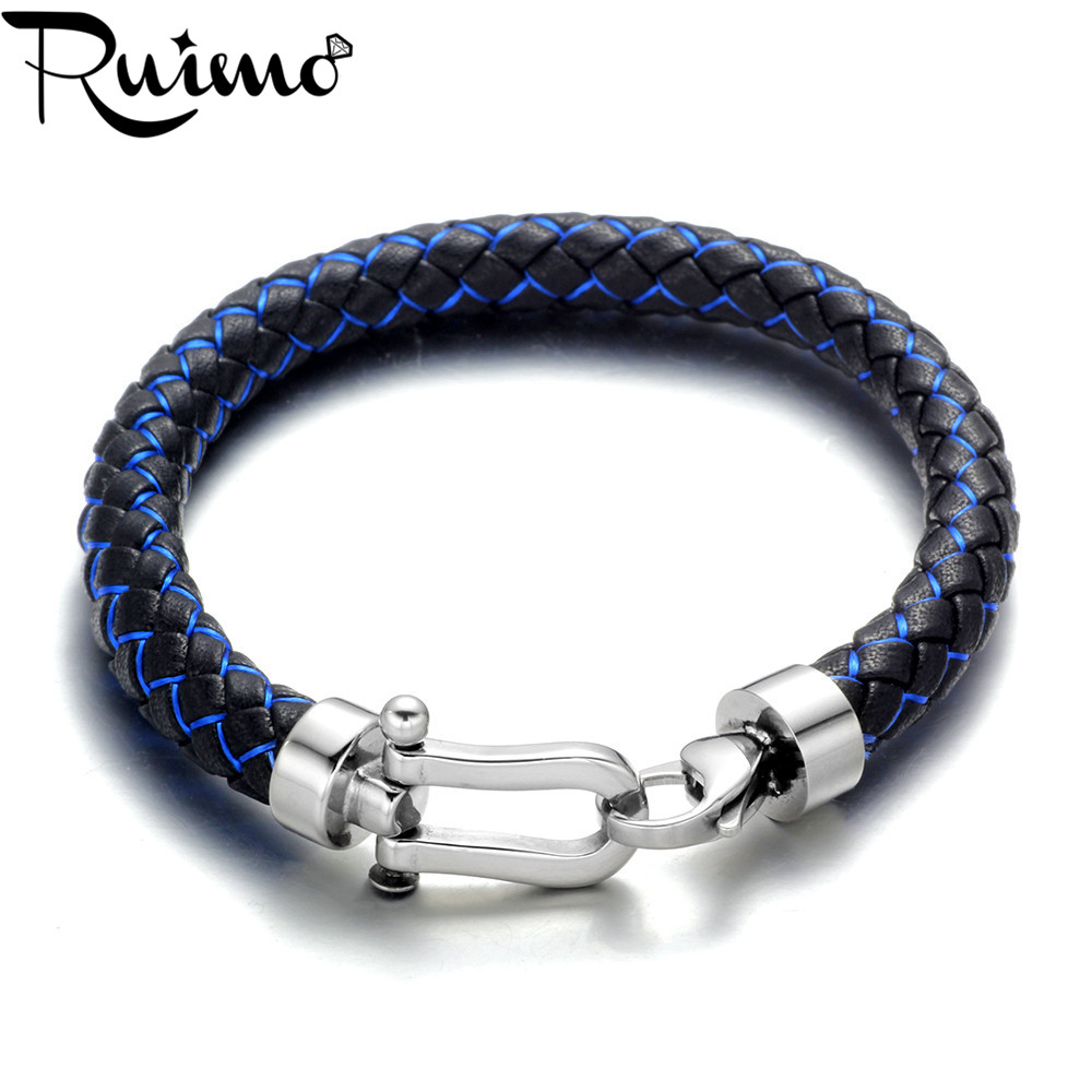 RUIMO 8mm Simple Genuine Leather Silk Braided Men Bracelets Bangles 316l Stainless Steel Lobster Clasp Wristband Jewelry Gift